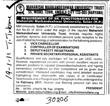 Vice Chancellor and Controller of Examination (Maharishi Markandeshwar University)