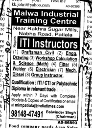 ITI Instructors (Malwa Industrial Training Centre Dhablan)