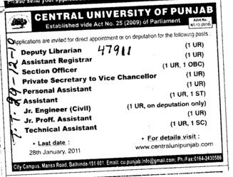 Technical Staff (Central University of Punjab)