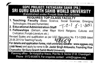 Teaching Faculty (Sri Guru Granth Sahib World University)