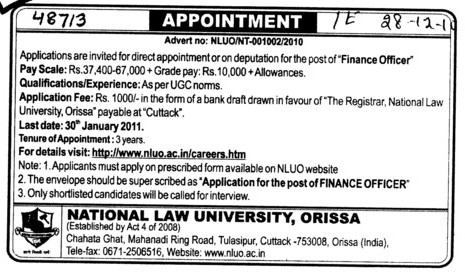 Finance Officer (National Law University)
