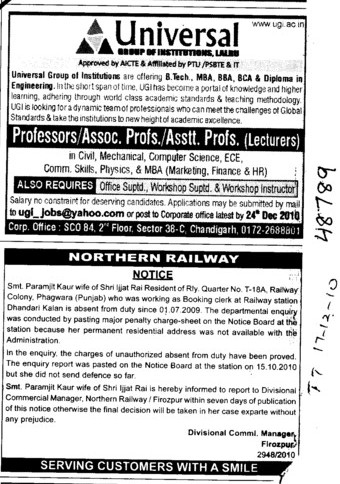 Professors Assistant Professors and Associate Professors and Assitant Professors etc (Universal Group of Institutions)