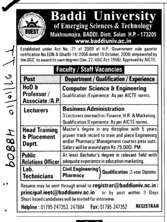 HOD Professors Lecturer and Lab Technician (Baddi University of Emerging Sciences and Technologies)