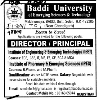 Director and Principal (Baddi University of Emerging Sciences and Technologies)
