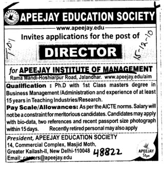 Director on Regular Basis (Apeejay Institute of Management)