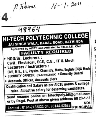 HOD Lecturers and Lab Instructor (Hi Tech Polytechnic College)