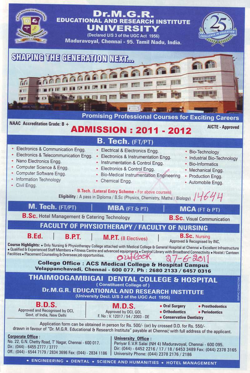 B Tech M Tech and MBA etc (Dr MGR Educational and Research Institute University)