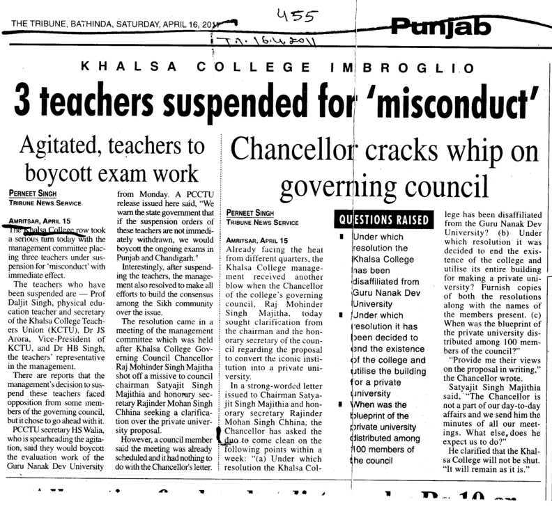 Three teachers suspended for misconduct (Khalsa College)