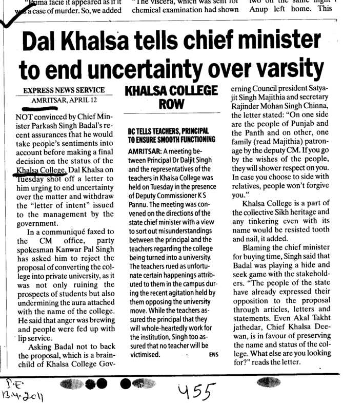 Dal Khalsa tells chief minister to end uncertainty over varsity (Khalsa College)