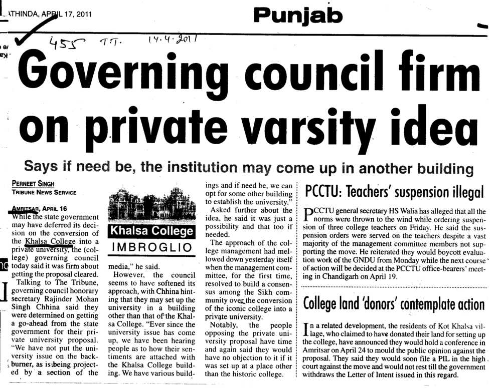 Governing council firm on private varsity idea (Khalsa College)