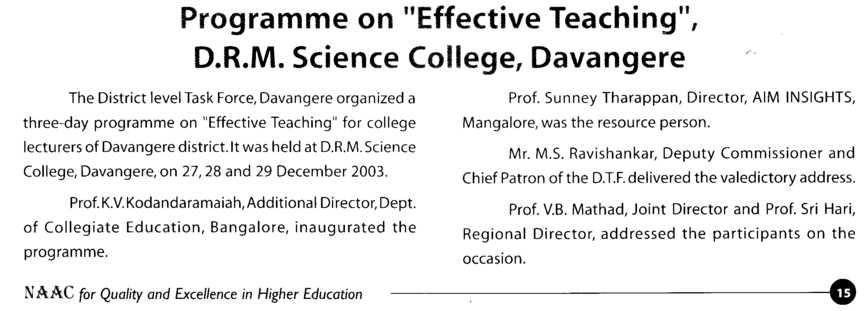 Programme on Effective Teaching in DRM Science College (DRM Science College)