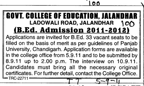 B Ed Courses (Government College of Education)