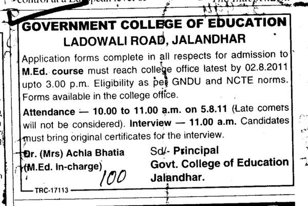 M Ed Courses (Government College of Education)