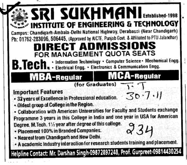 MBA MCA BBA and BCA etc (Sri Sukhmani Institute of Engineering and Technology)