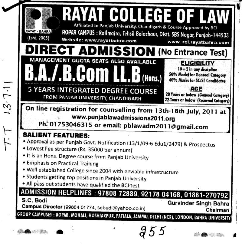 BA BCom and LLB etc (Rayat College of Law)
