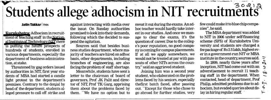 Students allege adhocism in NIT recruitments (National Institute of Technology (NIT))