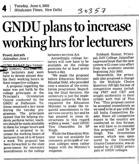 GNDU plans to increase working hrs for Lecturers (Guru Nanak Dev University (GNDU))