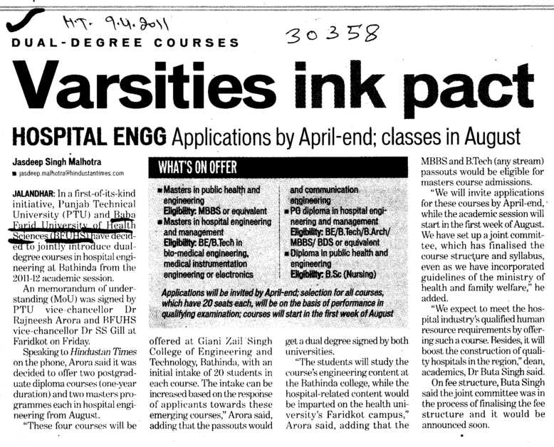 Varsities ink pact (Baba Farid University of Health Sciences (BFUHS))