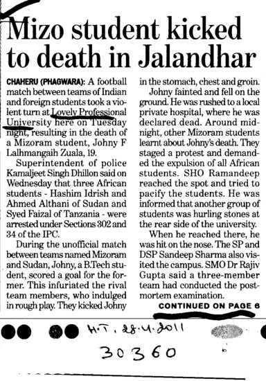 Mizo student kicked to death in Jalandhar (Lovely Professional University LPU)