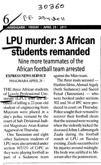 LPU murder three African Students remanded (Lovely Professional University LPU)