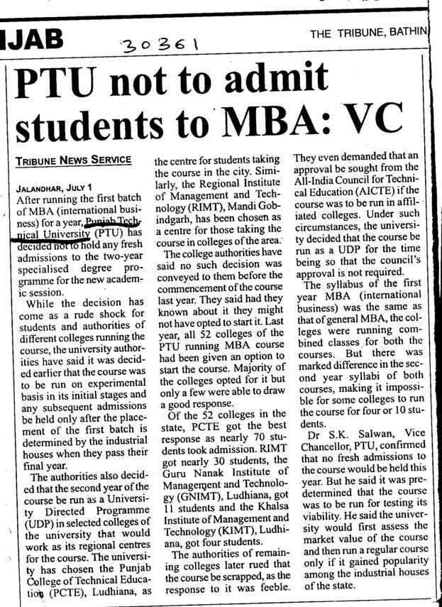 PTU not to admit Students to MBA (IK Gujral Punjab Technical University PTU)