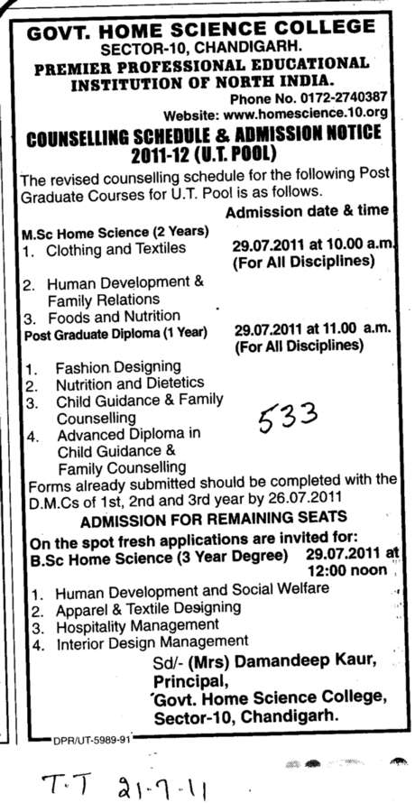 MSc Home Science and Post Graduate Diploma (Government Home Science College)