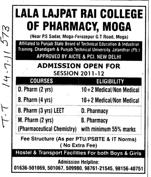 D Phar and B Pharmacy (Lala Lajpat Rai (LLR) College of Pharmacy)