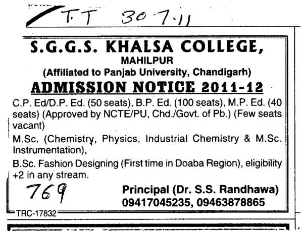 CP Ed and BP Ed Courses (SGGS Khalsa College)