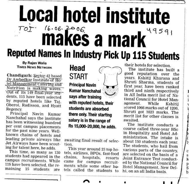 Local hotel institute makes a mark (Dr Ambedkar Institute of Hotel Management Catering and Nutrition)