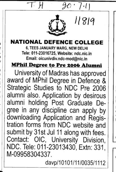M Phill Degree (National Defence College)