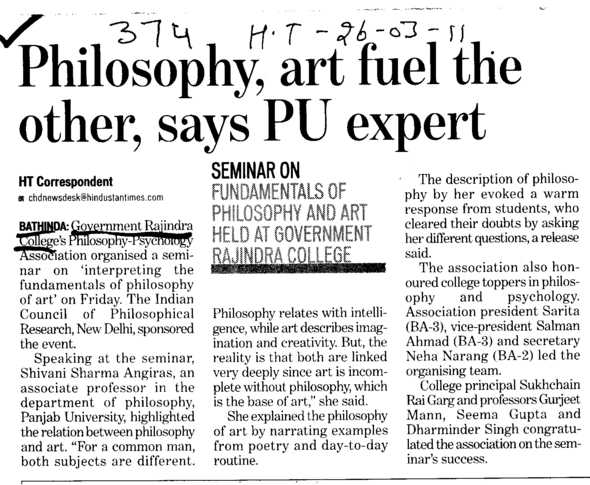 Philosophy art fuel the other says PU expert (Government Rajindra College)