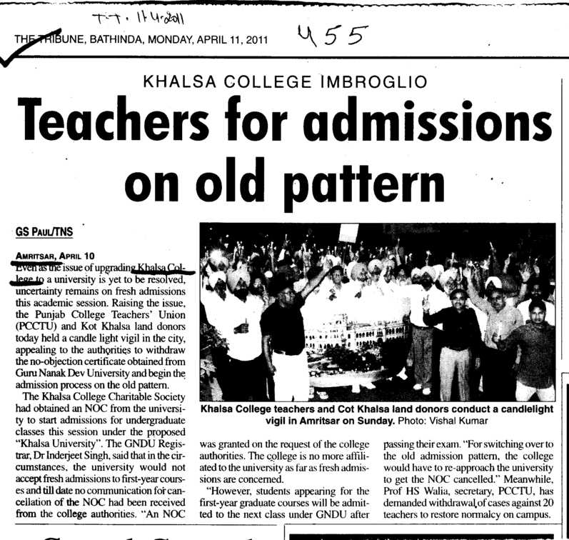 Teachers for admissions on old pattern (Khalsa College)