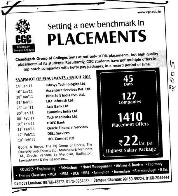 Setting a new benchmark in Placements (Chandigarh Group of Colleges)