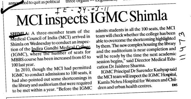 MCI inspects IGMC Shimla (Indira Gandhi Medical College (IGMC))