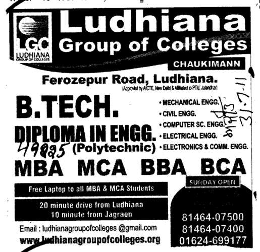B Tech Diploma in Engineering (Ludhiana Group of Colleges (LGC) Chowkimann)