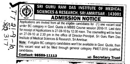 BC Category in Govt quota seats for MBBS Course (Sri Guru Ram Das Institute of Medical Sciences and Research)