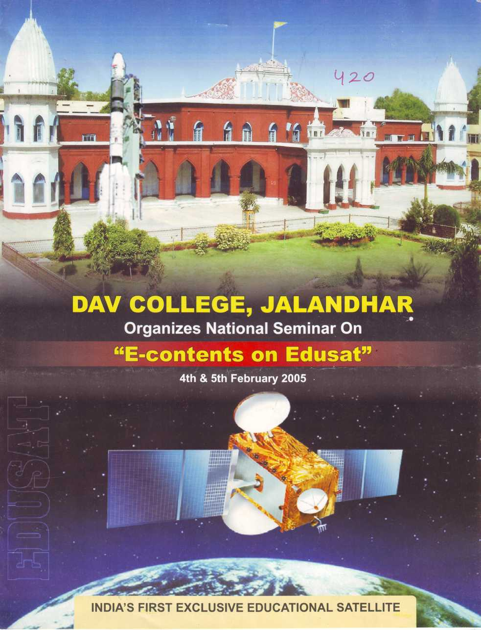 Organizes National Seminar on E contents on Edusat (DAV College)
