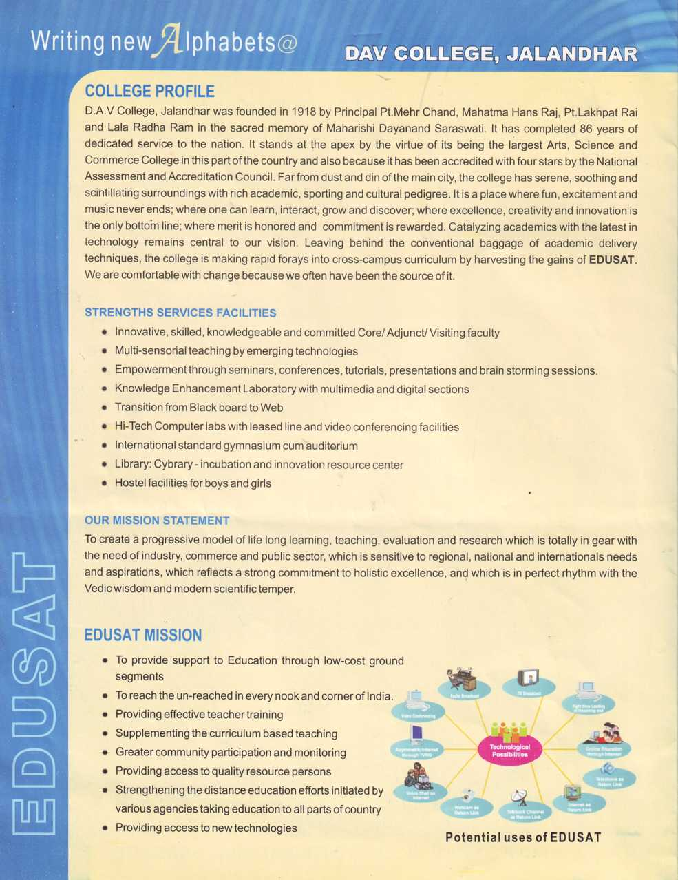 Strengths Services Facilities and Mission Statement (DAV College)