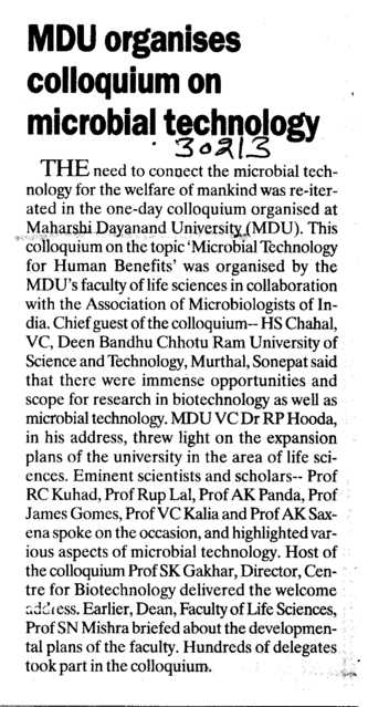 MDU Organises Colloquium on microbial technology (Maharshi Dayanand University)