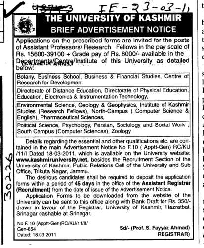 Assistant Proffessors and Research Fellows (University of Kashmir Hazbartbal)