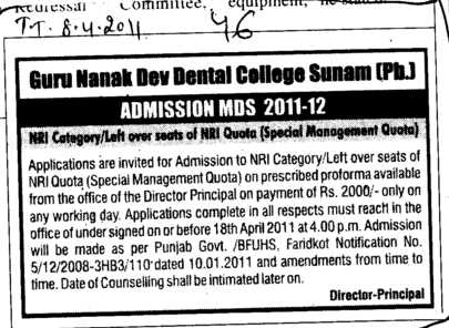 Left over seats of NRI Quota (Guru Nanak Dev Dental College)