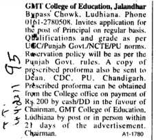 Principal on regular basis (GMT College of Education)