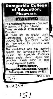 Two Assistant Proffessor (Ramgarhia College of Education)