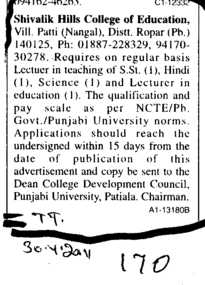 Lecturer for Hindi and Science on regular basis (Shivalik Hills College of Education Patti)
