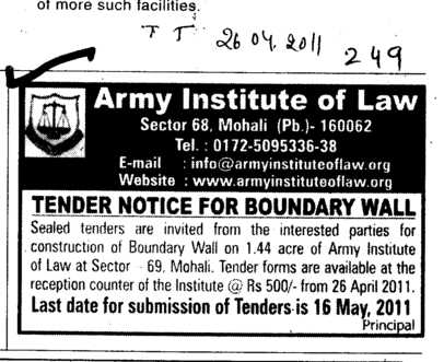 Tender Notice for Boundary wall (Army Institute of Law)