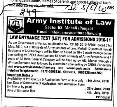 Law Entrance Test (Army Institute of Law)
