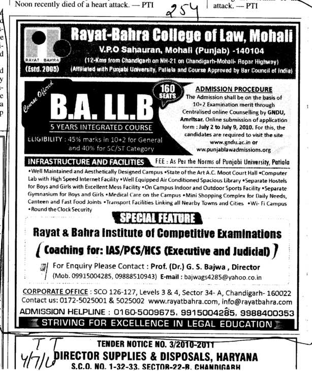 BA and LLB Programmes (Rayat and Bahra College of Law)