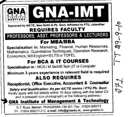 Proffessor Assistant Proffessor and Lecturer etc (GNA Institute of Management and Technology)