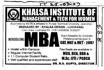 MBA Programmes (Khalsa Institute of Management and Technology for Women)