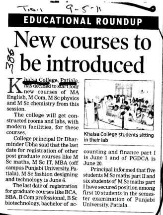 New Courses to be introduced (Khalsa College)